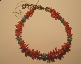 Red Coral and Jade Anklet