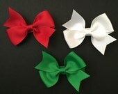Christmas Set of Three Mini Pinwheel Bow Hair Clips by The Spunky Little Monkey