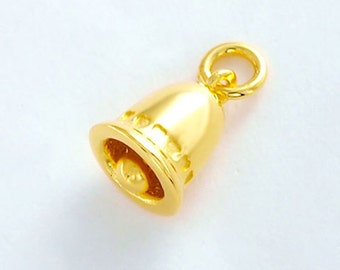 1 of 925 Sterling Silver 24K Gold Vermeil Style Bell Charm 8.5x9 mm  :vm0662