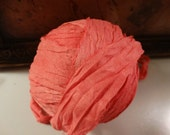 8 Yards CORAL WATERCOLORS Vintage Sari Silk Hand Dyed Ribbon