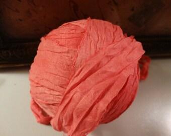 8 Yards CORAL WATERCOLORS Vintage Sari Silk Hand Dyed Ribbon