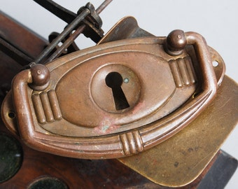 Antique brass key hope escutcheon plate with drawer pull handle. Steampunk style  (IL)