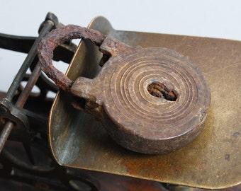 Antique small brass padlock, original dark patina.