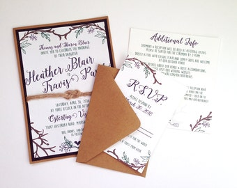 Woodsy Rustic Outdoor Wedding Invitations