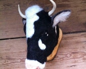 needle felted holstein cow mount style fake taxidermy by feltfactory - READY TO SHIP