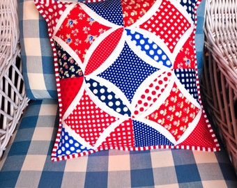 Scrappy Patriotic Quilted Pillow Cover - fits 16 inch pillow form - one of a kind Cathedral Window