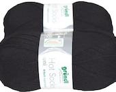 Solid uni 100gr German self striping superwash sock yarn Grundl, color Black