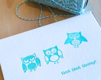 Cute Owl letterpress baby or expecting card congratulations card in turquoise Hoot Hoot Hooray - quirky fun animal card. All occasion card
