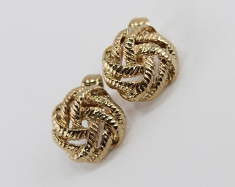 Vintage Signed Faberge Gold Tone Woven Knot Weave Woven Round Button Nautical Goldtone CLIP ON Earrings