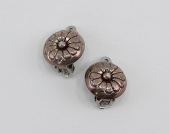 Vintage Antiqued Silver Tone Round Modernist Flower Button Nautical Silvertone CLIP ON Small Stud Earrings