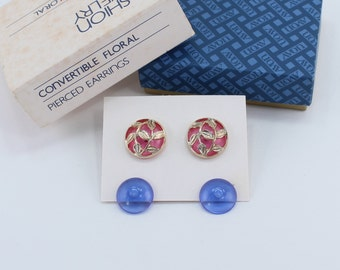 Vintage 1981 Signed Avon Convertible Floral Goldtone Clear Pink Blue Domed Gold Tone Leaf Leaves Pierced Earrings in Original Box NIB