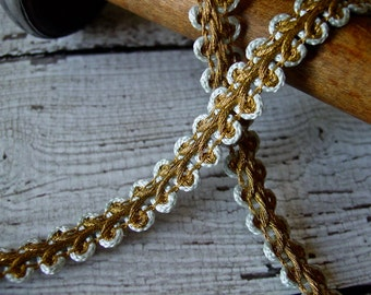 Beautiful French Metallic Gold Vintage Braid Trim, one yard with mild patina