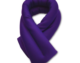 Purple Neck Ice Wrap 26x5, Microwavable and Freezable, Hot and Cold Pack, Extra Long and Wide, Filled with Flax Seeds