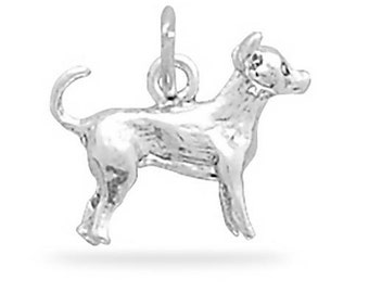 Chihuahua Dog Charm Pendant 3d Sterling Silver 925