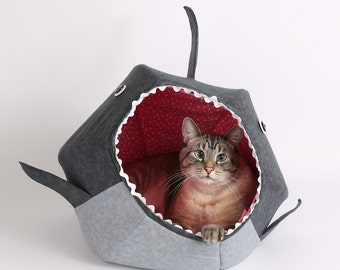Great White Shark Cat Ball Cat Bed a Funny Pet Bed for Shark Week