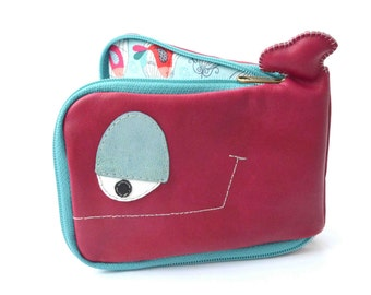 Maroon and blue Whale wallet with birds, genuine recycled leather