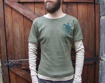 Cthulhu Long sleeved green tshirt with sand arms lady fit layered tshirt - screen hand printed leviathan sea creature motif lovecraft kraken