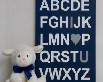 ABC I Love You - Navy Blue and Gray Baby Boy Nursery Wall Art, for Baby Shower, I Love You Alphabet Letter Painted Sign