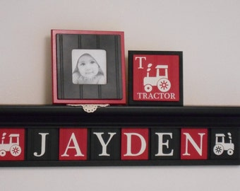 FARM TRACTOR Wall Art Personalized for Baby Boy Nursery Decor,  Black Shelf with Customized Red / Black Letter Plaques