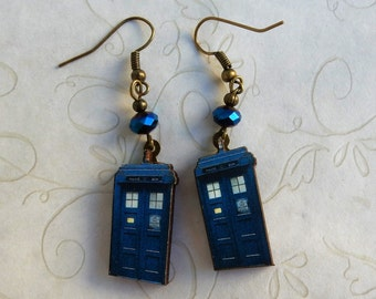 Tardis Earrings, Doctor Who Earrings, The Doctor, Tardis Jewelry, Tardis Key, Tardis Key Earrings,  Doctor Who Jewelry, Blue Police Box