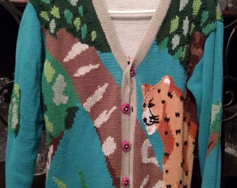 Vintage HANDKNIT Jacket Size Medium