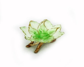 ON SALE Antique hand painted Italian porcelain paste leaf candy trinket dish, antique pin dish