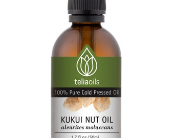Kukui Nut Oil, Cold Pressed - 100% Pure, Unrefined, Extra Virgin. 50 Ml / 1.7 Oz -An Excellent oil for Dry, Damaged or Irritated Skin