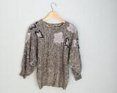 Fall SALE 20% Off - Vintage 80s Black White Silver Metallic Lightweight Slouchy Sweater w/ maple leaves // dolman sleeve // womens medium la