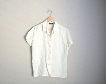 July SALE - 15% Off - Vintage 90s Ivory Linen Short Sleeve Button Down Blouse Top Shirt // womens medium