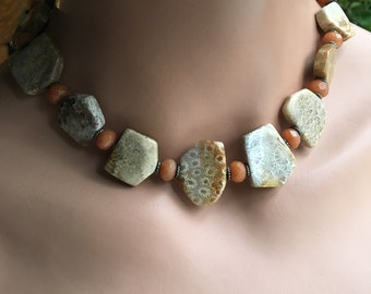 Fossil Coral and Peach Jade Necklace, Collar Necklace and Earrings Set