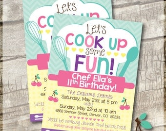 Chef Birthday Party | Printable Birthday Invitation | Cooking Birthday Party | Invite, Thank Yous, Labels & Seals | Chef Party | Pink Chef