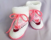 Discount - Knitted baby booties , White baby booties, knitted baby boots, knitted  baby shoes, baby slippers