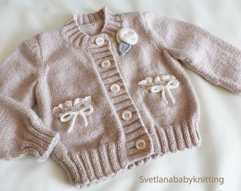 Knitted baby cardigan, wool baby cardigan, baby beige cardigan, baby girl sweater, children sweater