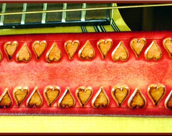 BORDER of HEARTS Design • A Beautifully Hand Tooled, Hand Crafted Leather Guitar Strap