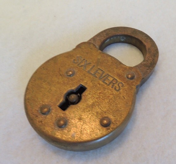 Vintage Antique SIX LEVERS Padlock.. Made In U.S.A.