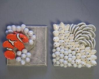 CORAL REEF and Clown Fish, Sea Shell, &  Anemonies On Blue Slate Reef, Ocean Art Beach Art, ceramic wall art, ceramic wall sculptures