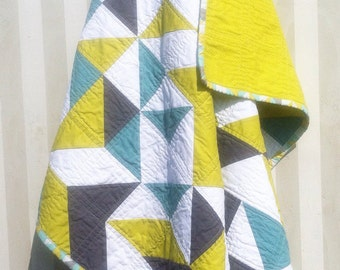Green, Blue and Grey Triangle Quilt