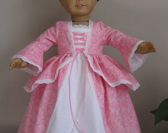 Colonial Pink Calico Dress and Pinner Cap for 18 Inch or AG Felicity, Elizabeth Doll