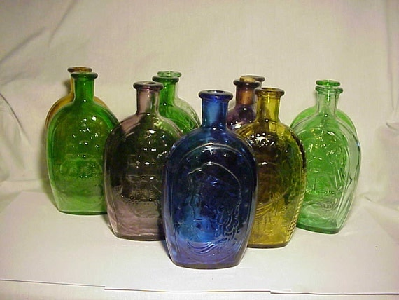 C1960s group of 11 colored glass cork top lestoil flasks for Colored glass bottles with corks