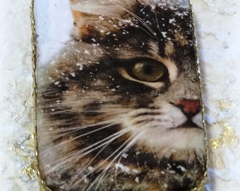 Cat, Altered Altoid Tin Box, Cat Keepsake Box, Treasure Box, Memory Box, Cat Treat Box, Stash Box, Coin Purse, Credit Card Case, Upcycled