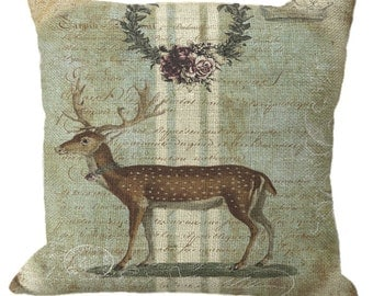 Aged Aqua Stripe French Romantic Rose Wreath Deer in Choice of 14x14 16x16 18x18 20x20 22x22 24x24 26x26 inch Pillow Cover