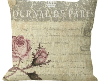 Paris Rose Tattered French Journal in Choice of 14x14 16x16 18x18 20x20 22x22 24x24 26x26 inch Pillow Cover