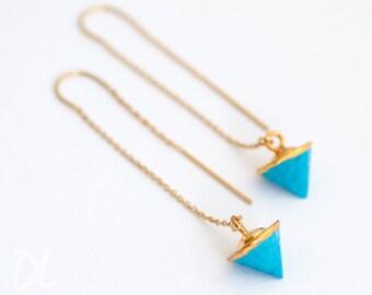 Gold Ear Thread Earrings - Turquoise Earrings - Spike Earrings - Ear Threader Earrings - Minimal Jewelry - Long Gold Dangle Earring