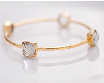 40 OFF - Bangle - Green Amethyst Bracelet- February Birthstone- Gemstone Bangles - Bezel Set Bangles - Gold Bracelets