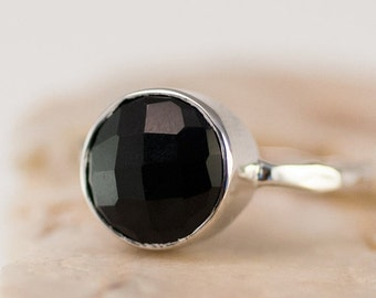 WINTER SALE - Black Onyx Ring - Gemstone Ring - Stacking Ring - Sterling Silver Ring - Round Ring