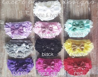 Sequin Headband & Ruffle Bloomers Set - Any Colors You Choose - Mix and Match - Choose 2 - Ready To Ship - Glitter Headband - Ruffle Bloomer