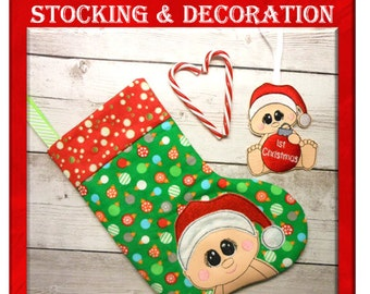 """Shop """"baby christmas stocking"""" in Craft Supplies & Tools"""