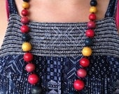 """Vintage 60's   """"WOODEN BEADED NECKLACE"""" Multi Colored Strand"""
