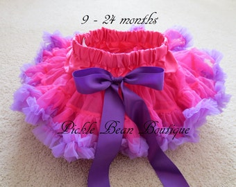 Hot Pink and Purple Pettiskirt, 0-24 mo, Ready To Ship,  Baby Skirt Tutu, 1st Birthday Girl Outfit, Girls First Birthday Outfits