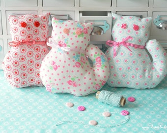Shabby Chic Kitty Home Decor cute pink pastel cat handmade soft toy floral cat
